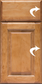 This illustration shows where the profile is on a cabinet door and drawer.